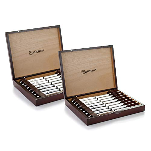 (Wusthof 8-Piece Stainless-Steel Steak Knife Set with Wooden Gift Box (Pack of 2 8 Knives in Wood Presentation Box))