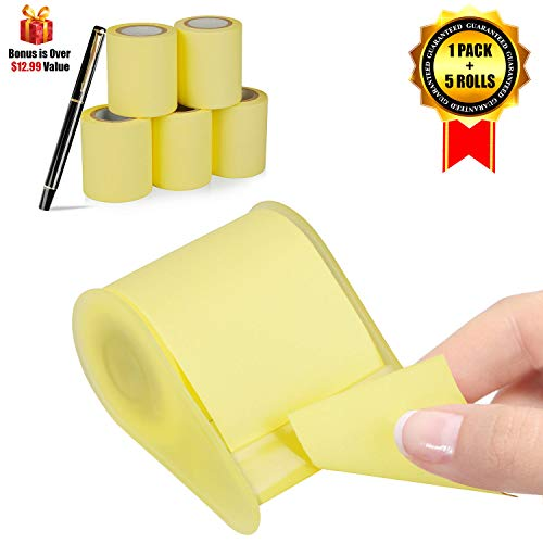 Super Sticky Notes, Full Adhesive Roll Sticky Notes, Dispenser for Different Size, 3 x 315 in, 6 Roll+Pen/Pack -
