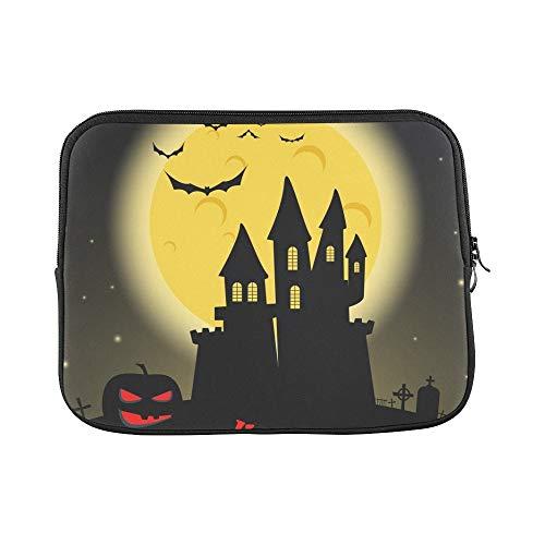 Design Custom Dark Castle Full Moon Happy Halloween Sleeve Soft Laptop Case Bag Pouch Skin for 11