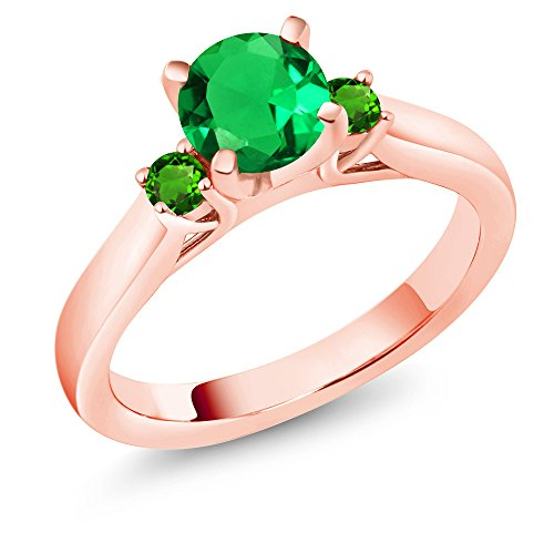 Gem Stone King 1.05Ct Simulated Green Emerald Tsavorite 18K Rose Gold Plated Silver 3Stone Ring (Size 8)