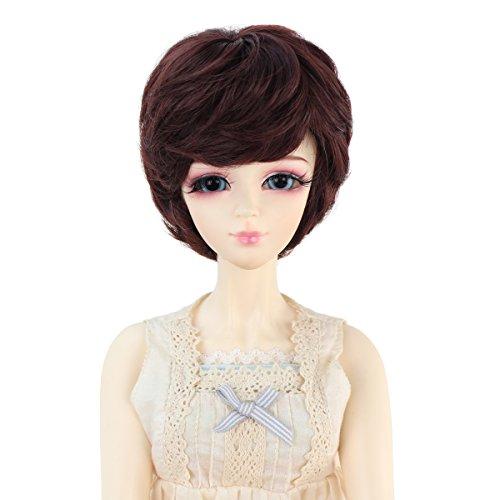 Human Hair Doll Wig - Miss U Hair 9-10 Inch 1/3 BJD MSD DOD Pullip Dollfie Doll Wig Short Wavy Hair Not for Human (Dark brown)