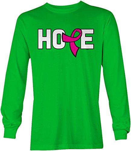 Pink Ribbon Green T-shirt (Tcombo Hope Pink Ribbon Breast Cancer Awareness Long Sleeve Men's Shirt (Kelly, XX-Large))