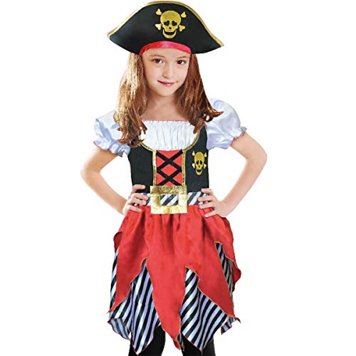 Lingway Toys Girls Pirate Buccanner Princess Costume Deluxe DressΠrate Hat for Kids Size 5-6 Red/Black -