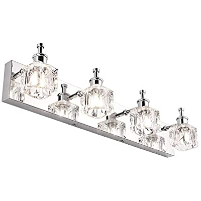 PRESDE Bathroom Vanity Light Fixtures Over Mirror Modern LED 4 Lights Chrome Bath Mirror Lighting - ✔ HIGH QUALITY MATERIAL:Premium Transparent Crystal Glass Lampshades with Mirror Chrome Stainless Steel ,Waterproof & rust-proof , Ensure a long life using. ✔MEASUREMENTS:Length: 26.8inches, Height: 5.1 inches, Distance from wall: 5.1 inches. ✔ EASY TO INSTALL: Includes all mounting hardware,No Need Any Assembly ,Just Connect The Power Cord Directly. No Switch On the Lamp.Suitable US Junction Box Standard. - bathroom-lights, bathroom-fixtures-hardware, bathroom - 4107lxOjbWL. SS400  -