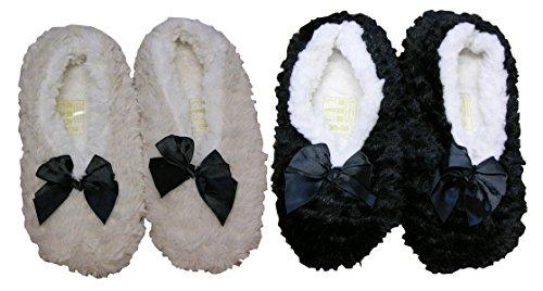 De Ballerines Chaussons Noir beige Lot 2 Doux Femme qpqdIwBH