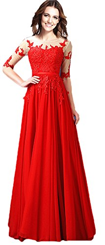 Rongstore Women's Appliques Long Prom Party Gowns with Sleeves