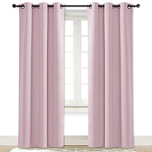 NICETOWN Room Darkening Curtain for Kids Bedroom Nursery Essential Thermal Insulated Solid Grommet Top Drape Panel (Lavender Pink=Baby Pink, 1 Pack, 42 x 84 Inch)