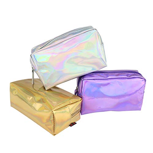 Amazon.com : Laser Bag Fashion Holographi Penil ase Makeup Pouh Zipper Purse Bag Toiletry ases Purple : Beauty