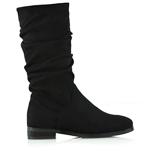 Suede Black Suede Faux Calf ESSEX Shoes Womens Winter Casual GLAM Slouch Rouched New Ladies Boots Faux Mid awq6g8