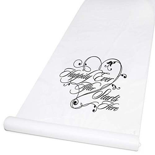 Hortense B. Hewitt Wedding Accessories Fabric Aisle Runner, 100-Feet Long, White Happiliy Ever After -