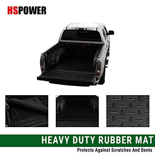 (HS Power Black Truck Bed Mat 2004-2017 for Nissan Titan Rubber Diamond Plate Trunk Floor Carpet 5.7 Ft)