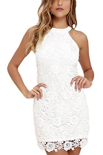 La Mujer Elegante Cuello Redondo Cortado Bodycon Mini Vestido De Encaje De Ganchillo De Slim blanco
