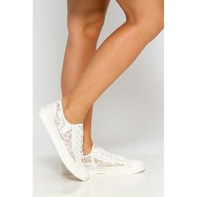 grand assortiment comment acheter outlet à vendre Baskets blanche en dentelle: Amazon.fr: Chaussures et Sacs