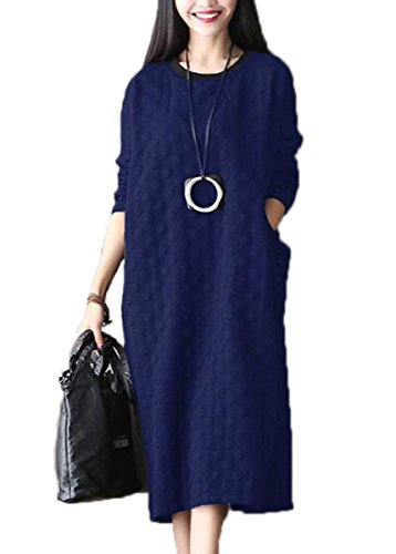 Dresses Solid Long Sleeve Calf Womens Navy With Dress Celmia Long Mid Plus Loose Side Size Pocket wRx1f6q