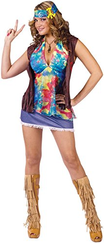 GTH Women's Retro Hippie Summer Of Love Sexy Vest Skirt Fancy Costume, S/M (2-8) (Adult Hippie Costume Vest)