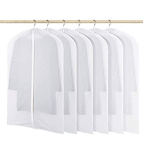HOMMINI Pack of 6 Hanging PEVA Garment Bags Lightweight, Full Clear Zipper Suit Bag for Closet Storage or Travel Clothes Cover, Dust Cover(47'' x 24'') (L)