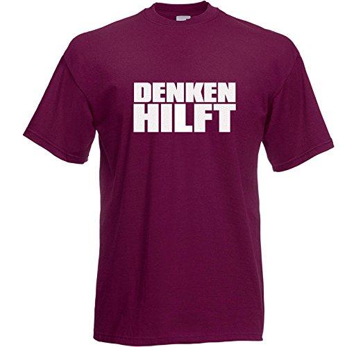 Denken hilft T-Shirt Burgundy / Druck Weiß