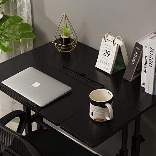 SIDUCAL Mobile Standing Desk, Rolling Ajustable Computer Desk, Mobile Computer Workstation Adjustable Desks for Home Office for Stand Up, Black