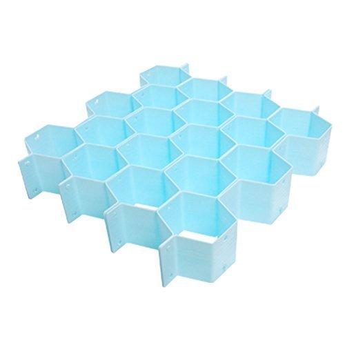 Water & Wood Underwear Socks Organizer Blue Plastic Honeycomb Cabinet Clapboard