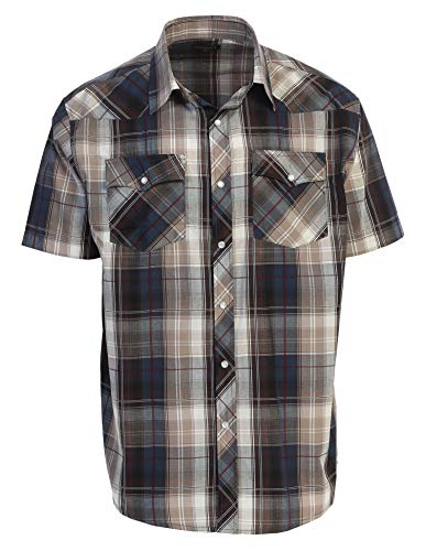 Gioberti Men's Plaid Western Shirt, Khaki/Navy, X Large