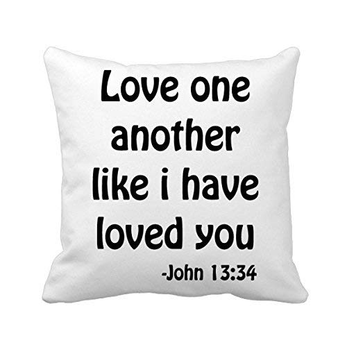 MurielJerome Love One Another Christian Quotes Square Throw Pillowcase Cushion Cover Home Decor Cushion Cover Home Sofa Decor Gift 18 x 18 inches.
