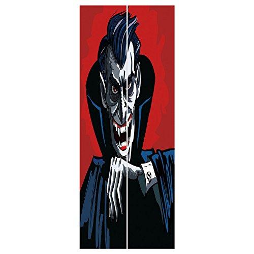 3d Door Wall Mural Wallpaper Stickers [ Vampire,Cartoon Cruel Old Man with Cape Sharp Teeth Evil Creepy Smile Halloween Theme,Blue Red Grey ] Mural Door Wall Stickers Wallpaper Mural DIY Home Decor ()