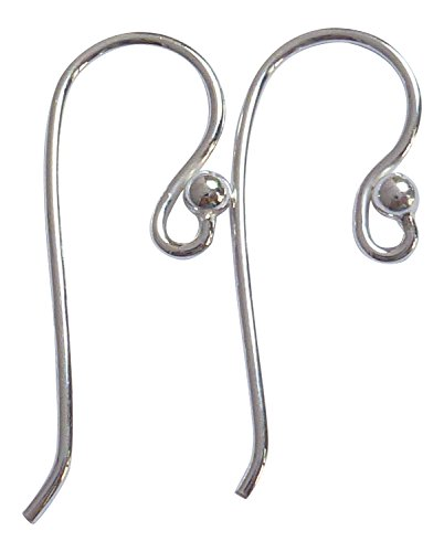 Sterling Silver 925 Large Ear Wire with 2.5mm Ball End 5 Pairs, 9.3x26mm, 19ga Open Ring ID 1.5mm 5 Pairs