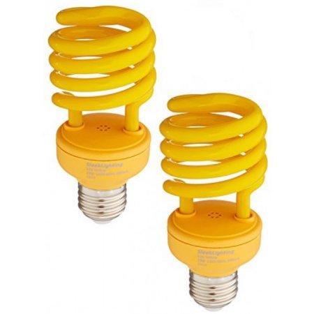 t T2 YELLOW Bug Light Spiral CFL Light Bulb, 120V, E26 Medium Base-Energy Saver (Pack of 2) (Yellow Incandescent Light Bulb)