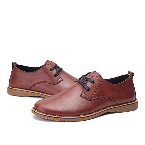 Leather Casual Brown Round Oxfords Lace Men's Up Shoes Red Toe XiaoYouYu Dress PqW8cTE