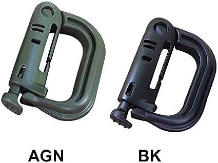 Nero Confezione da 10 anelli a D multiuso Grimloc per cinghie Molle con custodia con cerniera Jinnai colore