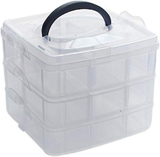 JunYe Exhibidor de Caja de contenedor de Caja de Almacenamiento de Organizador de joyería Grande Transparente portátil