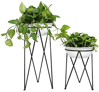 フラワースタンド 床置きフラワーシェルフモダンなシンプルな錬鉄ジューシーなフラワーポット 花台で庭など様々な場所 (Color : Black, Size : 34x75cm)