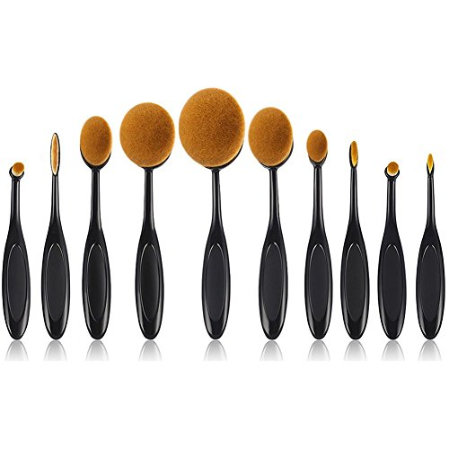 Beauty Kate Oval Makeup Brush Set of 10pcs Super Soft Professional Tooth-brush (Black) - Contour Blush Concealer Powder Blending Eyeliner Face Oval Foundation Brush Makeup Cosmetics Brushes Tool - Oval Face