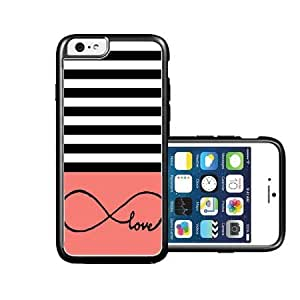RCGrafix Brand infinite-love Black Stripes & Aqua black iPhone 6 Case - Fits NEW Apple iPhone 6