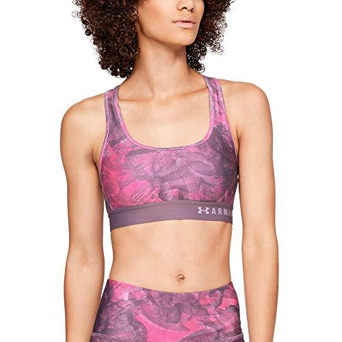(Under Armour Women's Armour Mid Crossback Print Sports Bra, Purple Prime (521)/Purple Ace, Medium )
