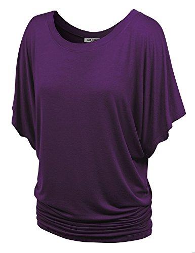 WT742 Womens Boat Neck Short Sleeve Dolman Drape Top S Dark_Purple -