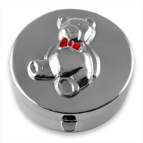 Enamel TEDDY BEAR TOOTH FAIRY BOX NEW Hallmarked Sterling Silver