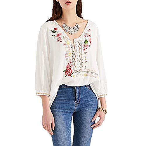 AK Women's Embroidery Mexican Bohemian Cotton Tops Shirt Tunic Blouses (White, XS)