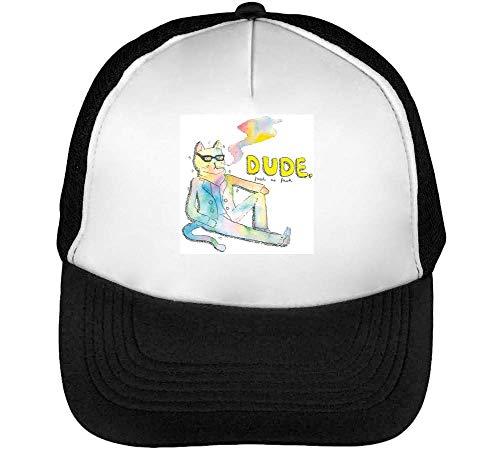 Dude Cat Funny Fresh As Fu$K Gorras Hombre Snapback Beisbol Negro Blanco