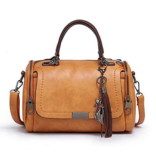 Doctor Handbag Crossbody Bag Lady Leather Top Handle Satchel Medium Purse With Tassel Brown