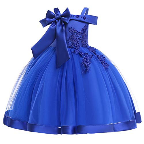 (Dress for Little Girls 7-8 Bridesmaid Lace Dresses Ball Gown 8 Years Old Summer Spring Wedding Pageant Dress for Kids Lace Tutu Tulle Girl Special Occasion Dresses Size 7-9 (Sapphire 140))