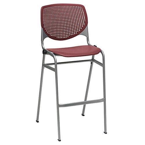 (KFI Seating Kool Series Polypropylene Bar Stool with Perforated Back, Burgundy Finish)