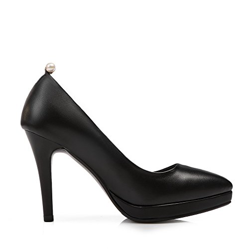 Pumps heels Soft Women's Odomolor Solid Pull Material Toe Pointed shoes High Closed Black on PqnzFx5fw