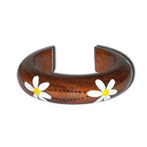 Ladies Thai Boho Eco-Friendly Mango Wood Floral Bangle / Bracelet / Cuff