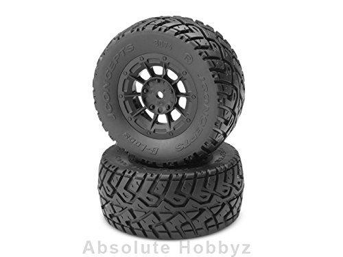 (JConcepts G-Locs Pre-Mounted SC Tires w/Black Hazard Wheel (Yellow) (2) (Slash/Rear) by J Concepts)