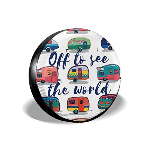 """Art-Capital Spare Tire Cover Happy Camper Off to See The World Universal Fit Spare Wheel Covers with Elastic Hem Slip On Fit for 14"""" to 17"""" Tire Diameters"""
