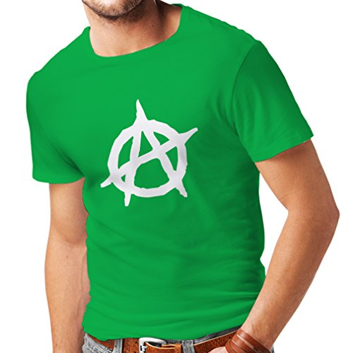 N4106 Anarchy Punk T-Shirt in ANARCHISM ANARCHO RETRO tee shirt sons of anarchy (XXL, Green T-shirt/White - Laurent Saint Online Shop