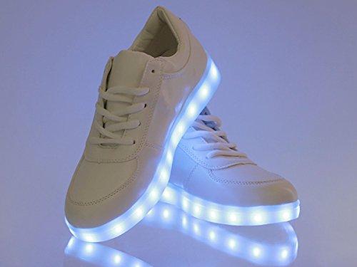 LED Schuhe Leuchtschuhe Blinkschuhe Farbwechsel leuchtende Sohle Sneakers von Alsino Weiß