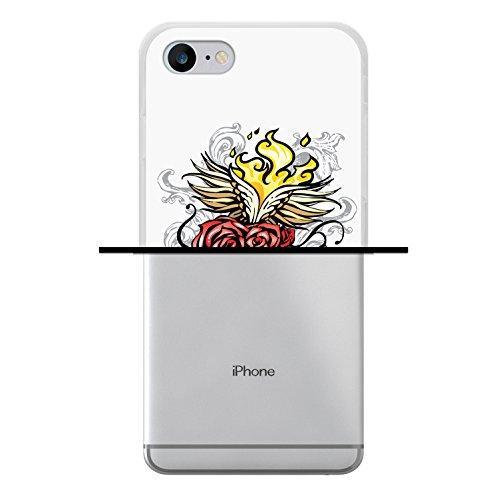 WoowCase Hülle Case für [ iPhone 7 ] Handy Cover Schutzhülle Herz, Rosen und Feuer