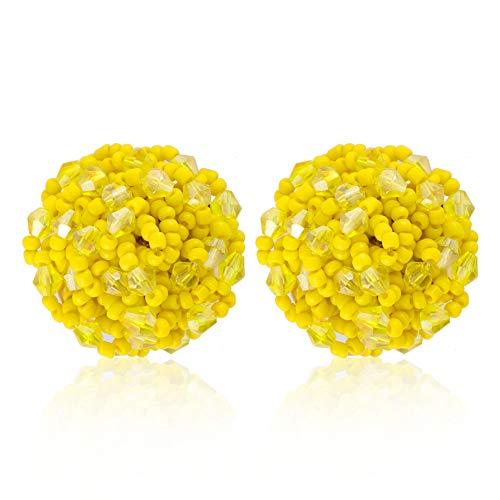 Crystal Seed Beaded arrings - Seed Beaded Stud Earrings,Great Bead Earrings For Women - Seed Beaded Earrings for Women,Ideal Gift for Sister, Mother,Friends (Crystal Yellow)